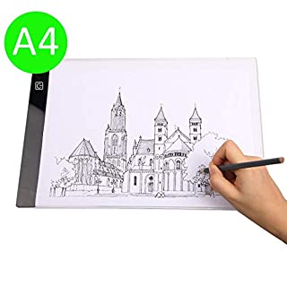 A4 size Ultra-thin Portable LED Light Box tracer White light LED Artcraft Tracing Light Pad Light Box with 3 level brightness for Artists,Drawing, Sketching