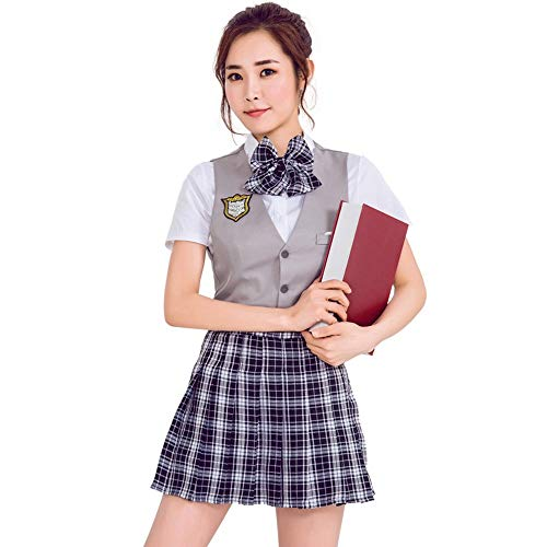 VNIUBI Schüleruniform, Cosplay Japanese College High School Schüler Plaid Rock, Schuluniform Class Activity Show (College Kostüm Party Bilder)