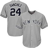 Personalizada Camiseta Deportiva Baseball Jersey Yankees de la Liga Mayor de béisbol # 24 Sanchez New York Yankees,Gray,Men-L