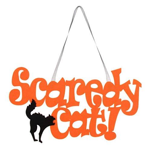 Nrpfell Angst Katze Haengen Zeichen Polystyrol Anhaenger Halloween Haus Hof Party Dekoration (Für Halloween-zeichen Hof)