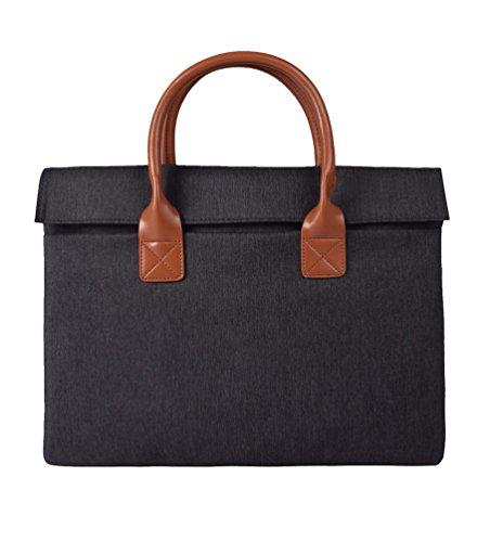 Yuncai Notebooktasche Apple Macbook Mode Einfach Laptop Handtasche Tragbar Aktentasche Dunkel Grau One Size(13/14/15 Inch)