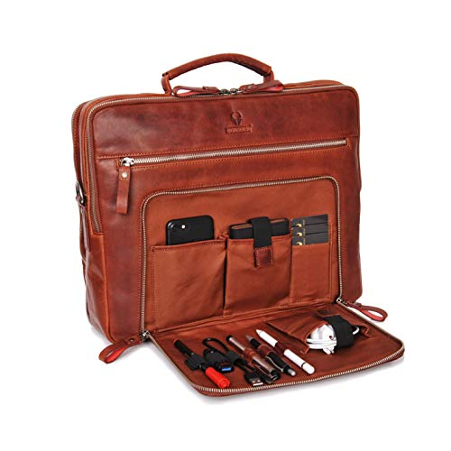 Donbolso Laptoptasche San Francisco 15,6 Zoll Leder I Umhängetasche für Laptop I Aktentasche für Notebook I Tasche für Damen und Herren (Rotbraun)
