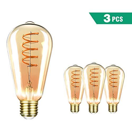 Edison Vintage Glühbirne SEALIGHT LED dekorative Retro Lampe Warmweiß 4W ST64 2000K E27 Antike Stil Beleuchtung Licht Bulb mit Squirrel Cage Filament Ideal für Haus Café Bar (3 Stücke) -