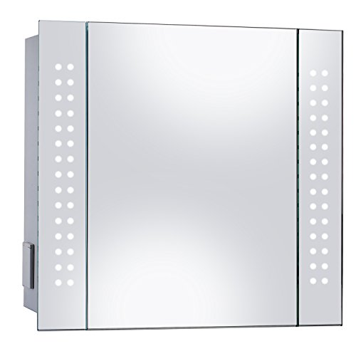 Hapilife Mirror Cabinet 60 LED Light Illuminated Mirror Bathroom Mirror with Demister Shaver Socket 600 x 650mm