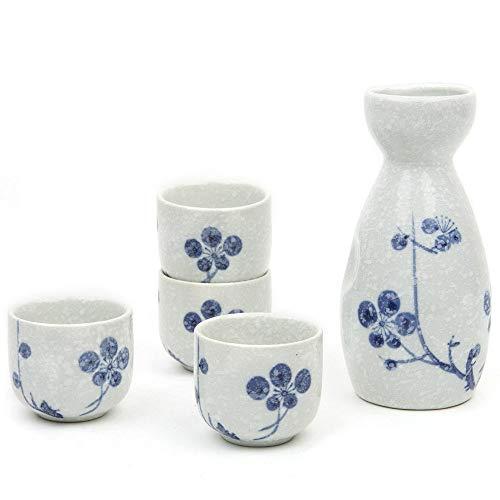 Sake Set, 5piecestraditional Sake japonés de porcelana diseño pintada a mano tazas de cerámica tazas de cerámica manualidades copas de vino (color morado), color azul