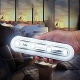DollylaStore 2 STÜCKE 4 LEDs 0,3 Watt Kabinett Sicheres Licht Stick auf Überall Push-Lampe Schnurlose Touch-Sensor Treppen Lampe Batteriebetrieben (kaltweiß)