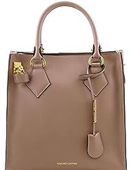 Tuscany Leather - Fortuna - Sac à main vertical en cuir Ruga - Taupe clair