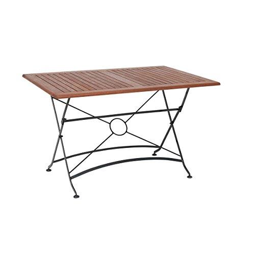 greemotion Table de jardin pliante Borkum – table de jardin 4 personnes – table à manger – table de jardin métal et bois d'acacia – table pliante bois et métal – table pliante d'extérieur 120 x 80 cm