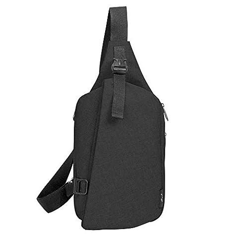 Cai 9.7 '' Sac iPad Sling Bag Crossbody Messenger Sac Water Resistant Sac à bandoulière Sac à poitrine Sports extérieurs Sac de déséquilibre occasionnel pour hommes Femmes Girl Boy HK-08807 Ash Black