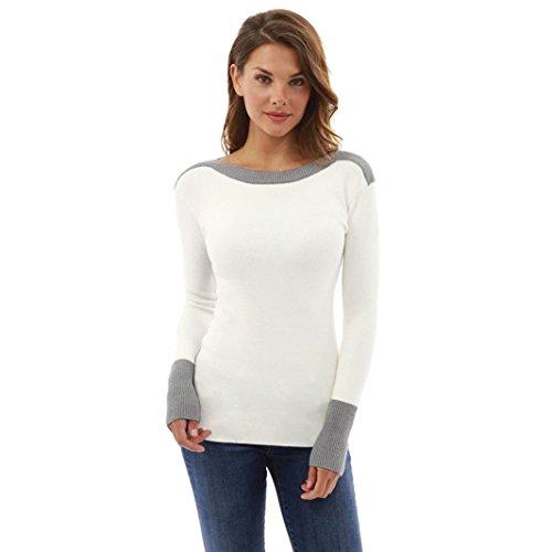 TWIFER Damen Mädchen O Hals Kampf Farbe Langarm Jumper Crop Pullover Bluse (S, Weiß)