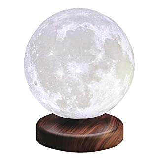 LEVILUNA Magnetic Levitating Moon Lamp,Zeegine Seamless 3D Printing moon light, Auto Rotating, PLA Floating Spinning LED Decorative Table Lamp, Creative gifts for Offical Decor (white, 5.9''/15cm)