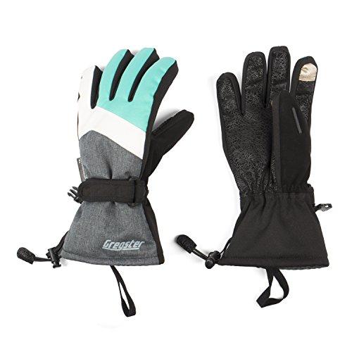 Gregster Premium Skihandschuhe / Snowboardhandschuhe / Winterhandschuhe für Damen mit Thinsulate Wärmeisolierung ( Touchscreen kompatibel ) - Grau Petrol S
