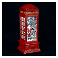 Mr Crimbo LED Glitter Santa Snow Storm Red Telephone Box Christmas Decoration Light Up Battery Operated Water Filled Sparkle