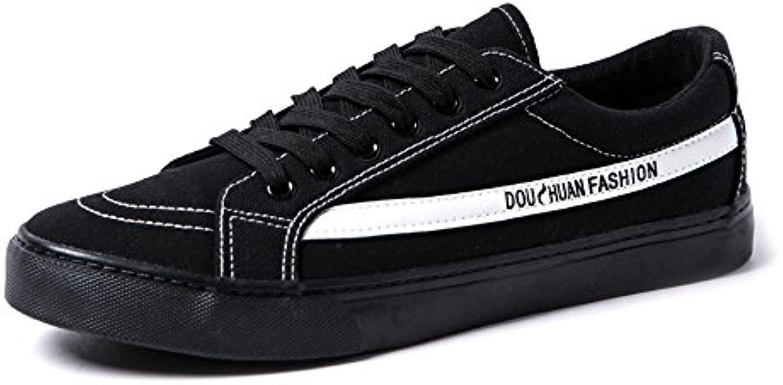 Sunny&Baby Zapatos Planos de Deporte de Los Hombres Mocasines Casuales Cordón Antideslizante Low Top Outsole Canvas  -