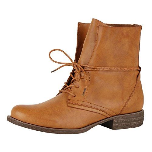 Bequeme Damen Stiefeletten Stiefel Reiterstiefel Basic Schuhe Braun Schnürer (Stiefel Damen Sale)