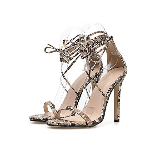Lixibei Women es High Heels, Snake Cross Bandage Sexy Sandals Fashion Women ' s Shoes Summer Party Shoes,35