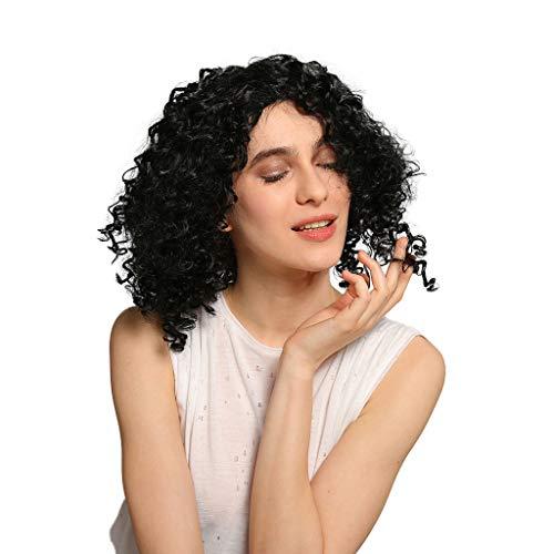 Perücke Popcorn Lockiges Kurzes Haar 40 cm Mittel Teil Hitzebeständigkeit Perücken für Karneval Fasching Cosplay Party Kostüm Leicht Geeignet für Mädchen Frau Dame (Schwarz)