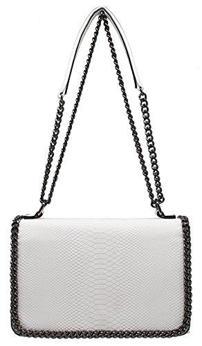 Clutch Aus Weißem Leder Handtaschen (CRAZYCHIC - Damen Umhängetasche - Tasche mit Python gesteppte Klappe - Schlange Steppmuster Leder imitat - Schwarz Kette Schulterriemen - Schultertasche Clutch - Henkeltasche Handtasche - Weiß)