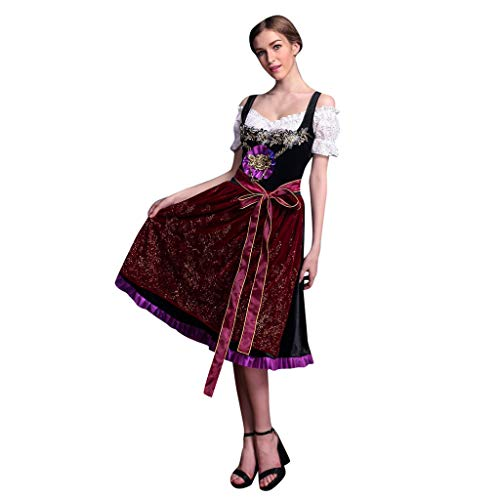 Damen Trachten-Mode Best-Price Midi Dirndl Bine in Dunkelblau traditionell, Frauen Vintage Beer Festival Bayerische Kurzarm Kellnerin Cosplay Kostüm Kleid, Wine, M (Zum Kostüme Besten Cosplay Verkauf)