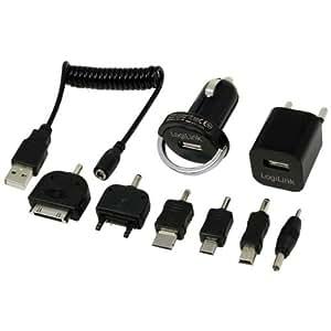 LogiLink PA0036A Intérieur, Extérieur Noir chargeur de téléphones portables - chargeurs de téléphones portables (Auto, Intérieur, Extérieur, Téléphone portable, Secteur, Allume-cigare, USB, Sony Ericsson, Nokia, Samsung, BlackBerry, RoHS, CE, Noir)