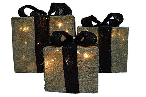 Silver Christmas Lights (3 Silver Parcels - Black Bows & LEDs - Premier Christmas Lights LV102703BK by Premier)