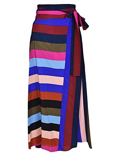 Diane Von Furstenberg Gonna in Seta a Righe Multicolor Vivaci 11220