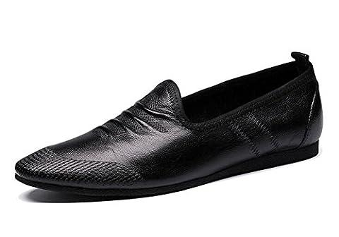 Hommes Slip-On Oxford Summer Chaussures pour hommes respirantes Chaussures décontractées Cuir en cuir souple Chaussures plates Loafer confortables ( Color : Black , Size : 40 )