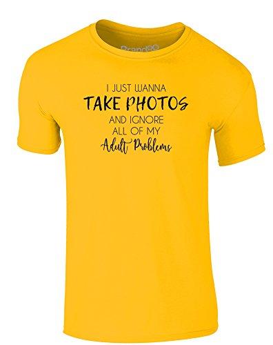 Brand88 - I Just Wanna Take Photos And..., Erwachsene Gedrucktes T-Shirt Gänseblümchen-Gelb/Schwarz