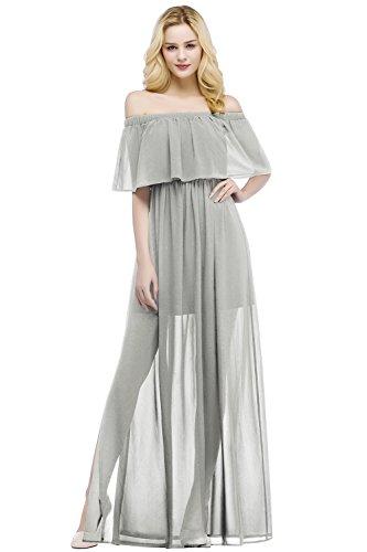Damen Elegant Chiffon A-Linie Brautkleid Hochzeitskleid Rückenfrei Maxilang Silber 42