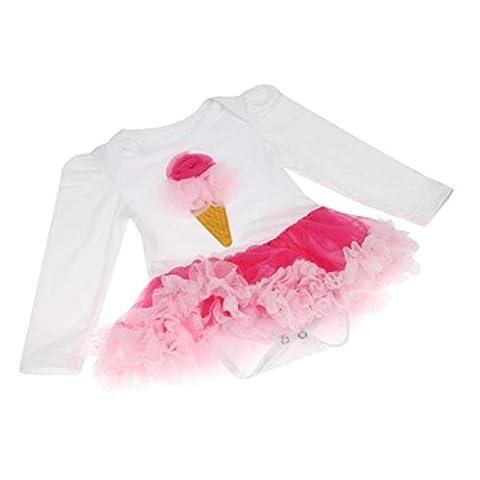 Saingace Bébé Fille Robe Tutu Barboteuse Tenues Vêtements Bodysuit (M(3-6mois))