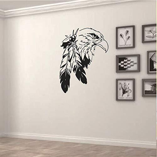 HFWYF Indian Eagle abnehmbare Persönlichkeit Geschnitzte Wandaufkleber Wohnzimmer Schlafzimmer Sofa Hintergrund Wand 57x42.5cm -