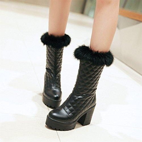 ZQ@QX In autunno e in inverno, testa tonda impermeabile dello spessore di Taiwan con scarpe con i tacchi alti e versatile studenti Cilindretto corto stivali stivali donna grandi cantieri stivali black