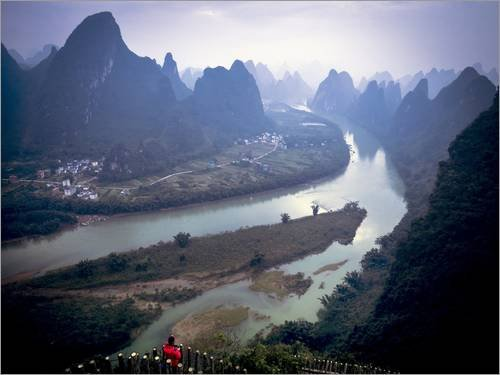 Stampa su Tela 160 x 120 cm: Karst Mountains Along The Li River, Guilin, Guangxi Province, China di Tino Soriano/National Geographic - Poster Pronti, Foto su Telaio, Foto su Vera Tela, Stampa su