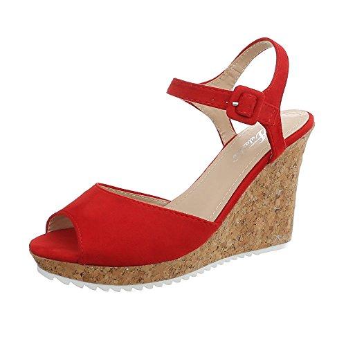 Ital-Design Keilsandaletten Damen-Schuhe Keilabsatz/Wedge Keilabsatz Schnalle Sandalen & Sandaletten Rot, Gr 38, 3811-15-