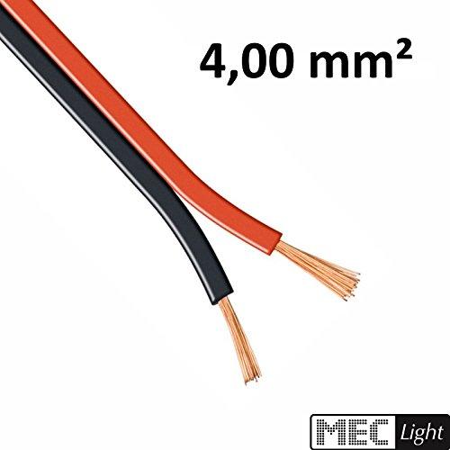 (0,95 €/m) 5–100 m Câble LED ZWILLING Toron 2 x 4 mm² rouge/noir 2 brins – Longueur Au Choix 10m Zwillingslitze 2x 4,00mm²
