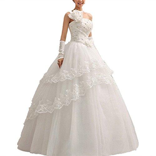 Damen Abendkleider Elegant Abschlussballkleider Bandeau Kleid Hochzeitskleid mit Stickerei...