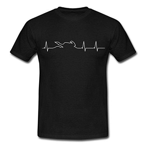 Spreadshirt Motorrad Biker Herzschlag EKG Linie Mit Bike Männer T-Shirt, L, Schwarz (T-shirt Schwarze Biker Motorrad)