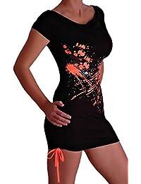 Kurzes Damen Kleid mit Spritz Design Grafikdruck