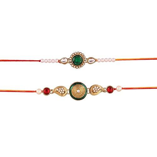 I Jewels Pearl and Kundan Rakhi Set of 2 for Men (R626CO)
