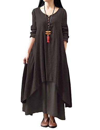Romacci Damen Beiläufige Lose Kleid Fest Langarm Boho Lang Maxi Kleid S-5XL Schwarz/Weiß/Rot/Gelb, Kaffee, 4XL (Rote Damen $20 Unter Kleider)