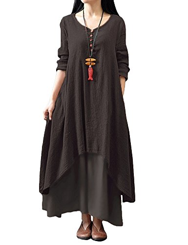 Romacci Femme Robe en Vrac Robe Maxi Robe Boho A-Lin Tunique Lâce Manches Longues Col V Casual - Café - Taille 5X-Larg