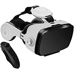 3D VR Headset , MENGGOOD 3D Virtuelle Realität Brille Virtual Reality Brille Headset Video Box Für VR Spielen und 3D Filme mit Kopfhörer [Bluetooth Controller Fernbedienung] Kompatibel mit iPhone 6S/ 6 Plus/ 5S Samsung S8/ S7 & 4 ~ 6 Zoll Smartphones