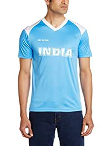 Nivia India Club T-Shirt, Small (Sky Blue/White)