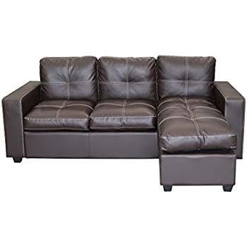 brown faux leather l shaped modern lounger sofa