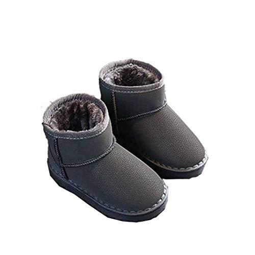 Stivali di Cotone a Tinta Unita per Bambini Autunno Inverno Inverno Ragazza Ragazza Manica Stivali di Neve Confortevole Pelle Peluche Caldi Stivali da Neve Piatta Non Scivolo