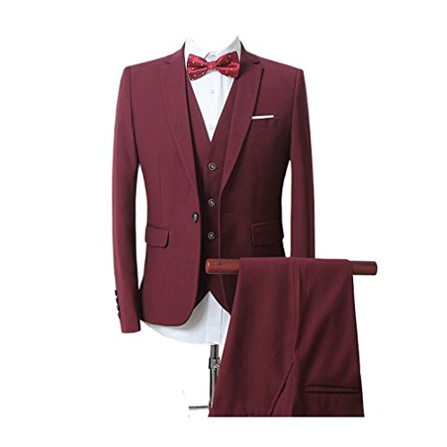 Zhuhaitf Fashion Mens Formal Wedding Suits Blazer Coats Jackets & Vests & Trousers 3 PCS Suit Blazer red