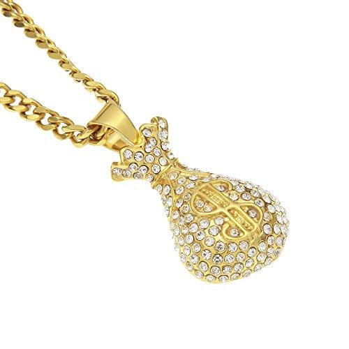Dollar Geldschein-Anhänger, Mode-Schmuck Edelstahl Halskette mit Anhänger, Symbol für Wohlstand (80's Hip Hop Modeschmuck)