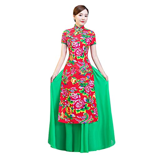 YAN Ladies ' Dress Polyester Frühjahr 2019 Kostüm Chinese Style Performance Long Cheongsam Two-Piece Set Wedding Party Evening,1,5XL