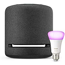 Echo Studio + Philips Hue White and Colour Ambience Smart Bulb LED (E27) | Bluetooth & ZigBee compatible (no hub required), Works with Alexa