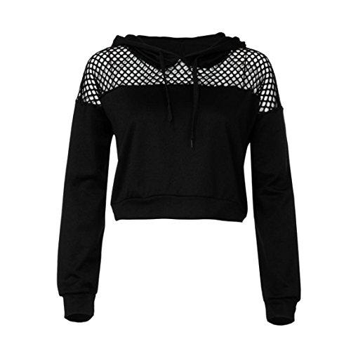 Moonuy Neue Art-Dame Hoodies, Frauen Herbst/Winter Hoodie Sweatshirt Pullover Pullover lose Crop Top Elegante Pullover Freizeit rot Sweatshirt (M, Schwarz)